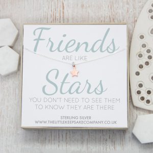 Rose Gold Quote Necklace - 'Friends Are Like Stars'