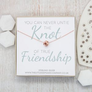 Rose Gold Quote Necklace - 'You Can Never Untie The Knot'
