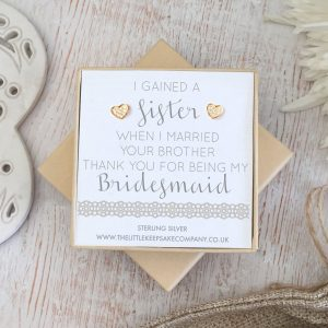Rose Gold Vermeil Wedding Quote Earrings - 'I Gained A Sister When I Married Your Brother'