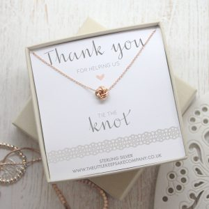 Rose Gold Wedding Necklace - 'Thank You For Helping Us Tie The Knot'