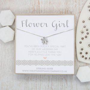 Sterling Silver & CZ Wedding Necklace - 'Flower Girl'
