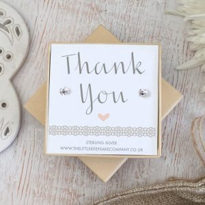 Sterling Silver & Cubic Zirconia Quote Earrings - 'Thank You'