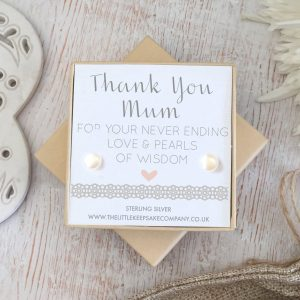 Sterling Silver & Pearl Wedding Quote Earrings - 'Thank You Mum'
