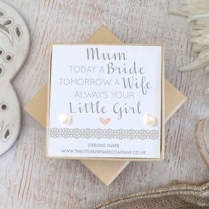 Sterling Silver & Pearl Wedding Quote Earrings - 'Today A Bride'