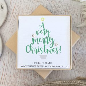 Sterling Silver Quote Earrings - 'A Very Merry Christmas!'