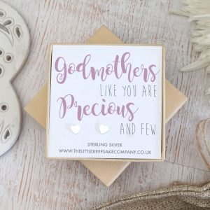Sterling Silver Quote Earrings - 'Godmothers Like You Are Precious & Few'