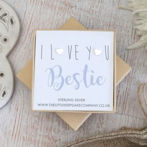 Sterling Silver Quote Earrings - 'I Love You Bestie'