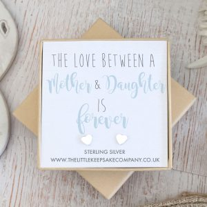 Sterling Silver Quote Earrings - 'The Love Between A Mother & Daughter Is Forever'