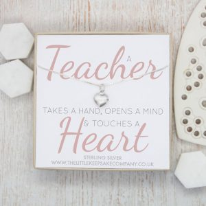 Sterling Silver Quote Necklace - 'A Teacher Takes A Hand'