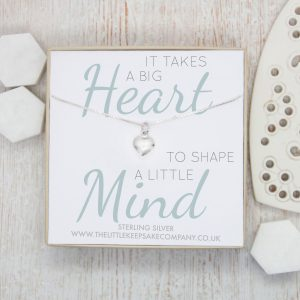 Sterling Silver Quote Necklace - 'It Takes A Big Heart'