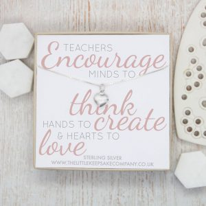 Sterling Silver Quote Necklace - 'Teachers Encourage Minds'