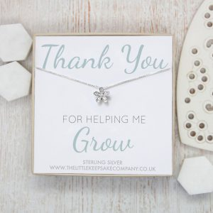 Sterling Silver Quote Necklace - 'Thank You For Helping Me Grow'