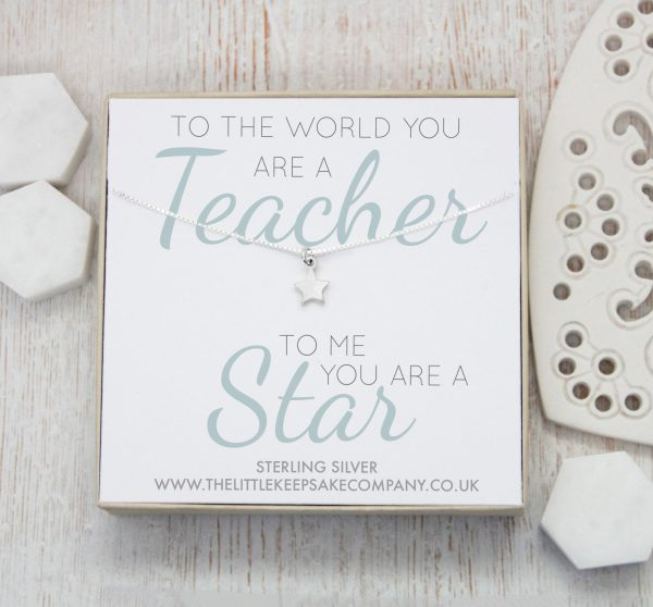 Sterling Silver Quote Necklace - 'To The World You Are A Teacher'