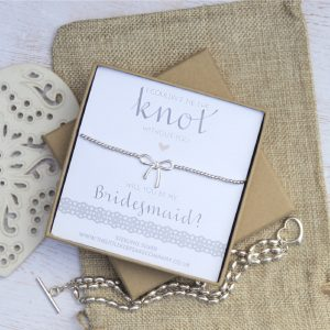 Sterling Silver Wedding Bow Bracelet - 'I Couldn't Tie The Knot Without You, Will You Be My Bridesmaid'