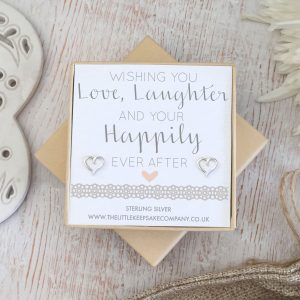 Sterling Silver Wedding Quote Earrings - 'Wishing You Love, Laughter & Happily Ever After'