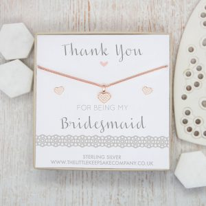 'Thank you for being my Bridesmaid' Rose Gold CZ Heart Necklace & Earring Set