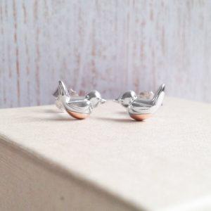 'When Robins Appear' Sterling Silver & Rose Gold Vermeil Robin Earrings