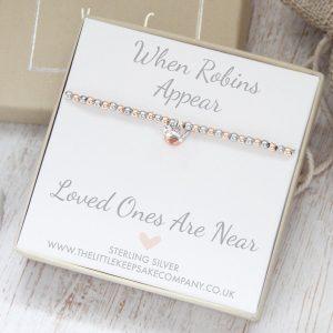 Baby Robin 'When Robins Appear' Sterling Silver & Rose Gold Slider Ball Bracelet