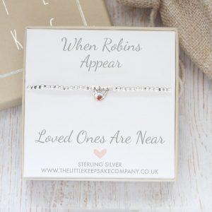 Baby Robin 'When Robins Appear' Sterling Silver Slider Ball Bracelet