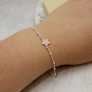 Silver Beaded Bracelet With Rose Gold Star