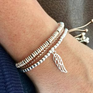 Sterling Silver Angel Wing Slider Bracelet