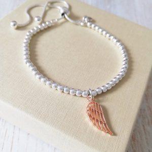 Sterling Silver Ball Slider Bracelet With Rose Gold Angel Wing