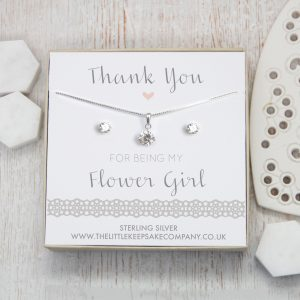 Sterling Silver & CZ Gift Set - 'Thank You For Being My Flower Girl'