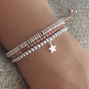 Sterling Silver Lucky Star Slider Bracelet