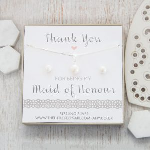 Sterling Silver & Pearl Gift Set - 'Thank You For Being My Maid Of Honour'