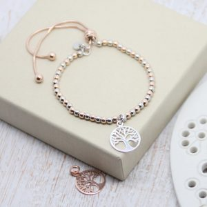 Two Tone Ball Slider Bracelet With Silver Tree Of Life Pendant