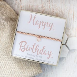 Rose Gold Vermeil & Pavé CZ Heart Slider Bracelet - 'Happy Birthday'