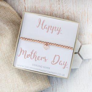 Rose Gold Vermeil & Pavé CZ Heart Slider Bracelet - 'Happy Mothers Day'