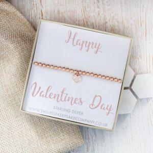 Rose Gold Vermeil & Pavé CZ Heart Slider Bracelet - 'Happy Valentines Day'