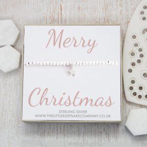 Sterling Silver Star Slider Bracelet - 'Merry Christmas'