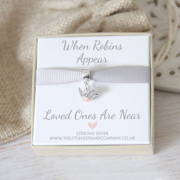 'When Robins Appear' Baby Robin Charm With Pandora Style Carrier