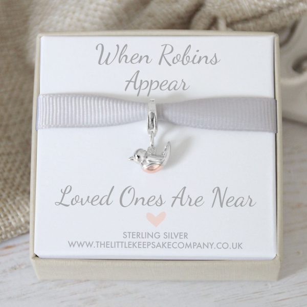 'When Robins Appear' Baby Robin Charm With Trigger Clasp