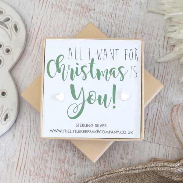 Sterling Silver Christmas Earrings - 'All I Want For Christmas Is You'