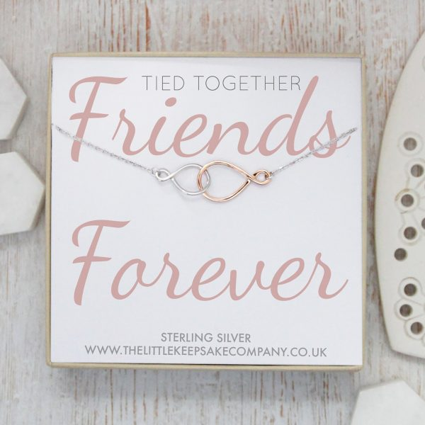 Asymmetric Infinity Duo Quote Necklace - 'Tied Together Friends Forever'