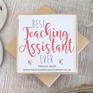 Sterling Silver Star Quote Earrings - 'Best Teaching Assistant Ever'