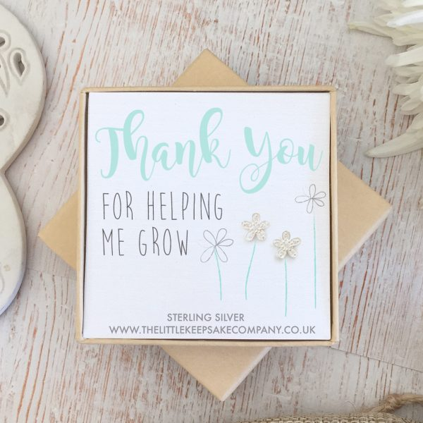Sterling Silver & CZ Quote Earrings - 'Thank You For Helping Me Grow'