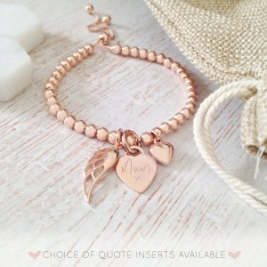 Rose Gold Memorial Bracelet with Engraved Handwriting Heart Charm