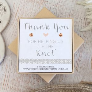 Rose Gold Quote Earrings - 'Thank You For Helping Us Tie The Knot'