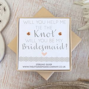 Rose Gold Quote Earrings - 'Will You Help Me Tie The Knot, Will You Be My Bridesmaid'