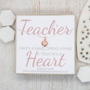Rose Gold Quote Necklace - 'A Teacher Takes A Hand'