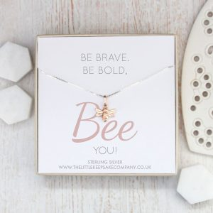 Rose Gold Quote Necklace - 'Be Brave, Be Bold, Bee You'
