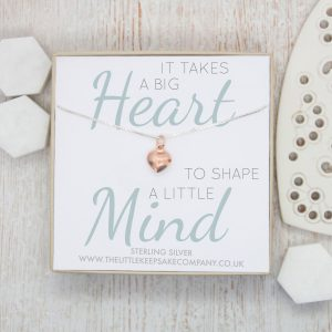 Rose Gold Quote Necklace - 'It Takes A Big Heart'