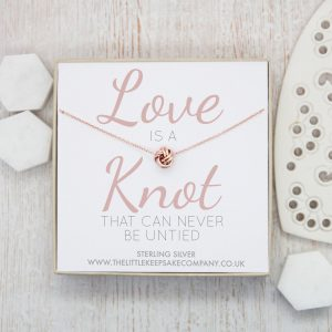 Rose Gold Quote Necklace - 'Love Is A Knot That Cannot Be Untied'