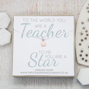 Rose Gold Quote Necklace - 'To The World You Are A Teacher'