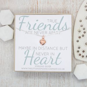 Rose Gold Quote Necklace - 'True Friends Are Never Apart'