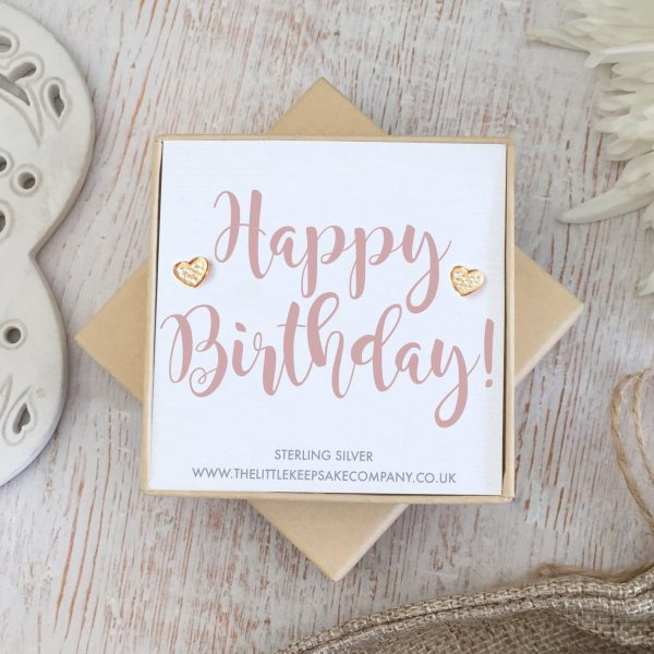 Rose Gold Vermeil & Pavé CZ Quote Earrings – 'Happy Birthday'